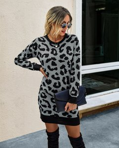 Popular Fall Winter Fashion 2020 Leopard-Print Sheath Slimming Womens Woolen Dress Casual Trend Retro