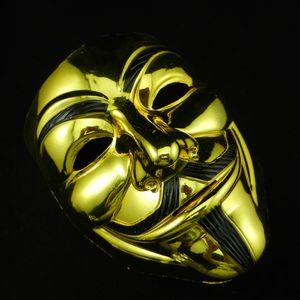 Valentine Gold Silver V Mask Masquerade Maschere Maschere per Vendetta Anonymous Party Decorazione Full Face Face Halloween Maschera per feste spaventose DBC