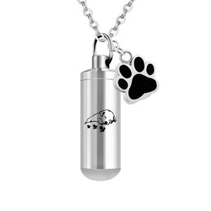 Pet Paws Ashes Urn Bijoux pour acier inoxydable Sleepy Dog cylindre Crémation Urne Ashes Memorial Pendentif Collier Keepsake