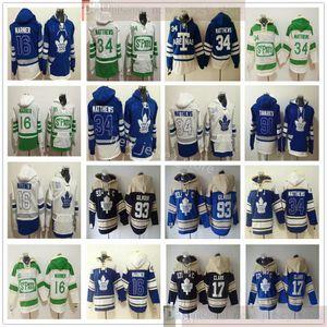 Toronto Maple Leafs Hockey Hoodie Jerseys 34 Auston Matthews 16 Mitchell Marner 17 Wendel Clark 93 Doug Gilmour Hoodies Branco verde azul