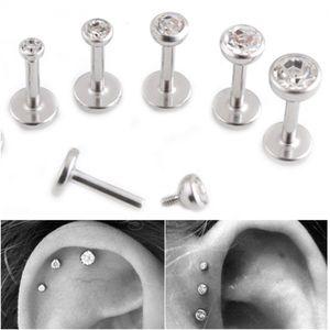 Gem Lip Stud Cartilagem Helix Tragus Crystal Clear Ear Stud LABRET BRINCO BAR
