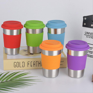 480ml 304 Stainless steel tumbler single wall mug wine beer coffee water glass egg shaped cup collapsible portable tumbler with lid and wrap