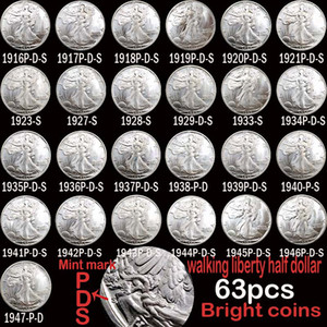 63pcs USA Full Set Walking Liberty Coins Bright Silver Silver plated copper copy coin