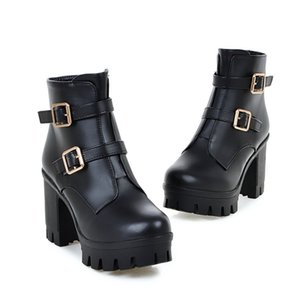 Hot sale-Hot Sale Fashion Boots Luxury White Black Buckle Chunky Heels Motocycle Booties Come with Box