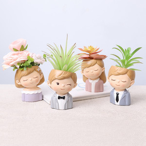 Amantes criativos Resina Flores Plantas Plantas Plantador Plantador Pot Mini Cacto Flor Pot Promoção Casamento Decoração T9i001008