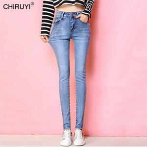 Chiruyi New Slim Jeans für Frauen Skinny Hohe Taille Jeans Frau Blau Denim Bleistift Hosen Stretch Taille Frauen Jeans 201030