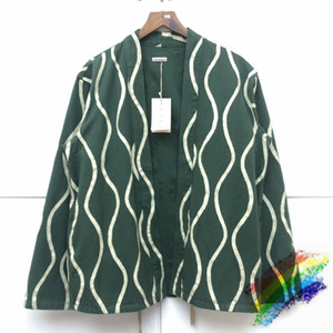 Полосатый кардиган куртки Мужчины Женщины 1 Top Версия Повседневный зеленый Denim пальто Открыть Стич Outwear