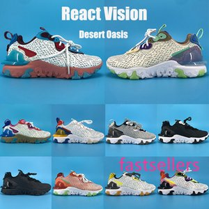 Desert Oasis react vision foam running shoes Photon Dust triple black white racer blue yellow honeycomb mens Sneakers women fashion trainers
