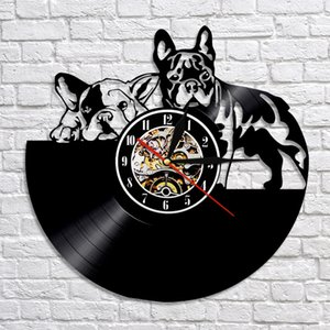 Orologio da parete bella Bulldog francese 3D Design moderno decorazioni Maison Vinyl Record orologio della decorazione della parete per i bambini Bambini Camera