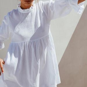 Women Ruffles Elastic Waist Loose Straight White Mini Dresses Half Sleeve Shirt Dress Autumn Fashion Woman Boho Sundress 201013