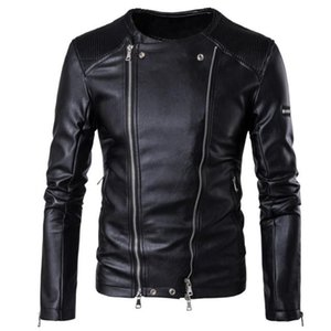 2020 New Autumn Harajuku Faux Leather Jackets Men's Fashion Black Motorcycle Outerwear Brand Mens Casual PU Jacket Plus Size 5XL