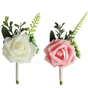 Lychee Life 1 pc Simulação Multicolor Rose Corsage Pulso Flores Artificial Silk Flowers Boutonniere para Wedding1