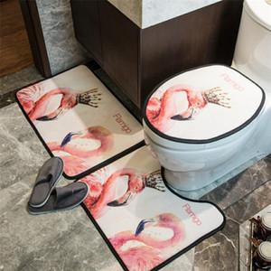 Alto grado Flamigo Aseo cubiertas del asiento personalidad de la manera Impreso Inicio Mat moda de tres piezas Aseo Palo Mat 01