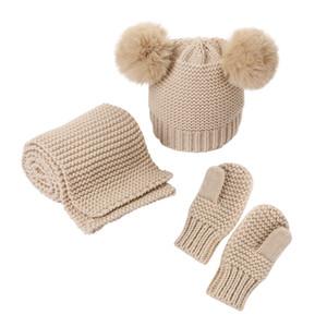 2020 new woolen yarn monochrome warm children hat scarf gloves three-piece factory direct sales children hat setGXY017