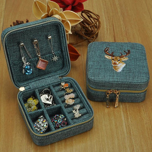 Jewelry Box Small Size Princess Simple Embroidery Vintage Earrings Ear Stud Necklace Ring Hand Jewelry Portable Travel Storage