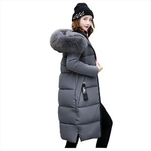 Hooded Fur Collar Winter Down Coat Jacket Long Warm Women Casaco Feminino Abrigos Mujer Invierno Padded Parkas Outwear Coats