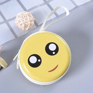 CUTE SMILING FACE CARTOON EXPRESSION TINPLATE POCKET CHANGE PURSE PORTABLE ROUND EARPHONE STORAGE BOX KEY BOX COIN BOX