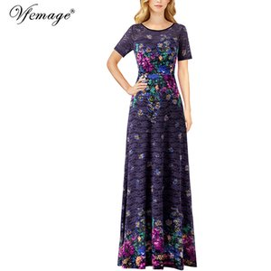 Vfemage Womens Elegant Floral Lace Print Formal Wedding Evening Party Special Occasion Maxi Long Gowns Flare A-Line Dress 391