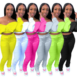 Womens clothing long sleeve outfits 2 piece set fashion fitness female tracksuit jogging sport suit sweatshirt tight sport suit klw0368
