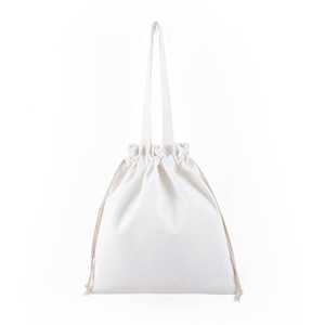 Women Canvas Casual Shoulder Bag Pleated Drawstring Shopping Environment-friendly Bag Female Solid Color Large Capacity Book Bag 67 O2