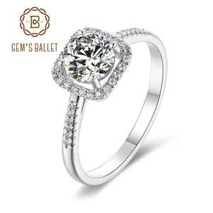 GEM DEL BALLET 925 Silves Sterling piedra redonda de 4 patas de halo cuadrado Anillo 1.0Ct 6.5mm Moissanite diamante anillos de compromiso para las mujeres