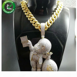 Iced Out Pendant Hip Hop Bling Chains Jewelry Men Gold Necklace Luxury Designer Diamond Cuban Link Cartoon Mario Money Bag Rapper DJ Charms