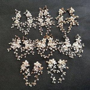 SLBRIDAL Handgemachte Rhinestones-Kristall Süßwasserperlen Hochzeit baumeln Ohrring-Braut Chandelier-Ohrring-Mode Frauen Schmuck opds #