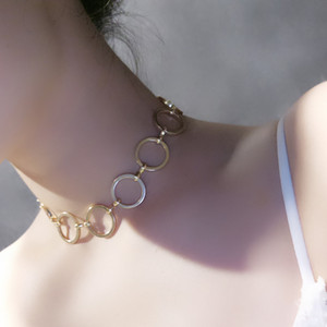 European and American Fashion Necklaces Simple Circle Geometric Copper Ring Necklaces New Arrival Lady Fashion Jewelry