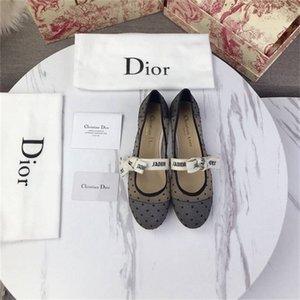Ladies Casual New calcanhar plana de malha de moda único sapatos de moda Causal margem superior