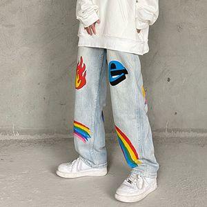 High Street Graffiti Oversize Jeans for Men and Women Harajuku Washed Retro Casual Denim Pants Straight Loose Jean Pants