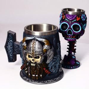 Estilo estéreo estéreo Copa Skull Head Cup Copa de vino medieval VIKING TAZA DE CERVEZA DE CERVEZA DE 18 CM HERA PERSONALIZACIÓN