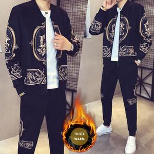 Impresión de oro de la chaqueta de los pantalones de chándal + 5XL masculino caliente grueso Conjunto, además de terciopelo Man Sport Conjunto 2 piezas juego del deporte Moda Hombre Hombres