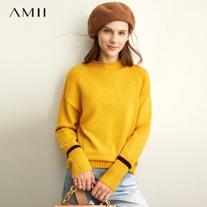 AMII Spring Semi-Turtleneck Knit Suéter Mujeres Causal Ofice Mangas Full Pullover Tops LJ201125