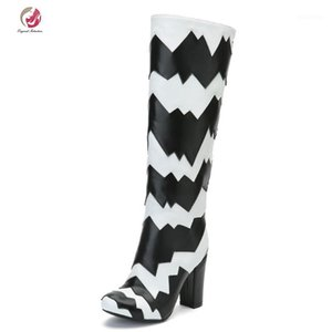 Original Intention Stylish Knee High Boots Mixed-Color Black White Zebra Stripe Round Toe Square Heels Boots Woman Winter Shoes1