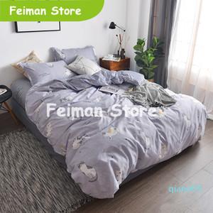 Queen Size Bed Sheet Set King Size Housse de couette Linge de Lit Taie Double Couvre-lit et literies Set Cats Imprimé Literie