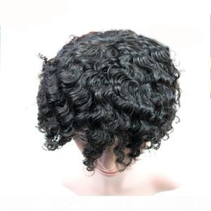 14mm # Afro curly menschliche haare toupee schwarz farbe kurze indische remy haare mens perücke haarschmuck toupee für schwarze männer kostenloser versand volle spitzeperücken