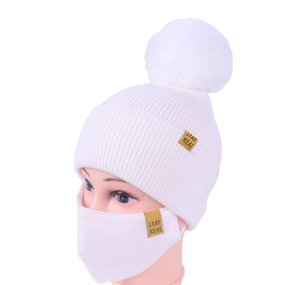 Dhl Shipping Womens Girls Knit Beanie Cap With Face Mask Set Soft Warm Lined Winter Ski Pompom Hat Outdoor Cycling 8 Colors bbyoHPF