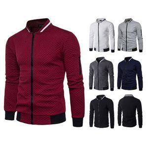 Mens Solid Color Zipper Hoodies Fashion Trend Long Sleeve Diamond Lattice Cardigan Sweatshirts Male Spring Stand Collar Slim Pullover Tops