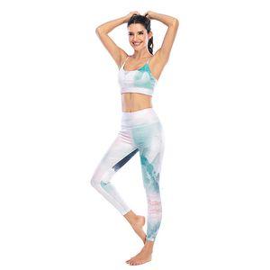 2020 neue Frauen-Trainings-Set Female Chinese Style Element Splash Tinte drucken Fitness Gym Outfit Yoga-Kleidung Anzug