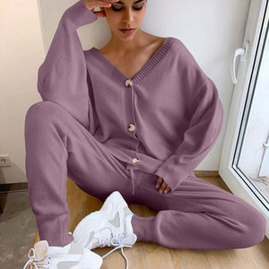 Women Sweater Sets 2021 Fashion Customes v Neck Cardigans + Long Pants Track Suits for Autumn Winter Woman Knitted Suit