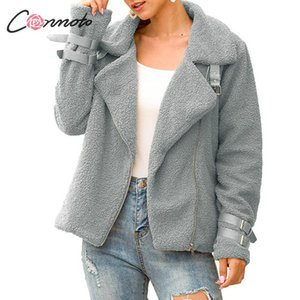 Conmoto Winter Teddy Women 2019 Fashion Faux Fur Female Shaggy Bomber Jacket Ladies Zip Jackets and Coats