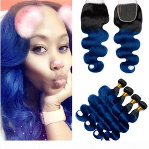 # 1b Blue Odre Body Wave Pein Bundles peruanos con cierre Oscuro Onmre Omre Wavy Human Hair Weave 4bundles con cierre delantero de 4s4 encaje