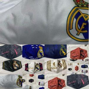 Paño Real Fans Mask Football Basketball Team Madrid Soccer Mask Club Masks Algodón transpirable deportivo Lavable Lavable Reutilizable FA