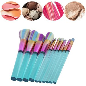 10Pcs Makeup Brush And Cosmetics Tool Flat Column Base Brush Acrylic Transparent Make-up For Woman High Quality Professional