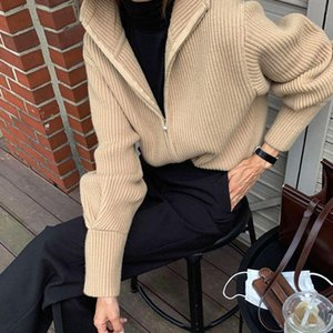 Korea Chic Knit Cardigan Retro BF Wind Sweater Commuter High Neck Zipper Loose Long Sleeve Jacket Winter Solid Color Casual