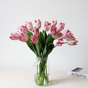 6pcs / lot impression gros fleur Touch Real Latex Tulips fleur Bouquet artificiel Fake Bouquet de mariée Décorer Decor1