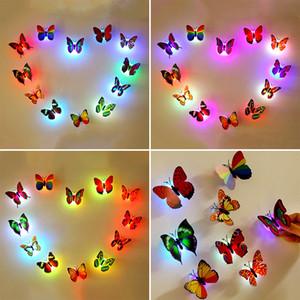 Светящиеся Led игрушки Детская комната 3d Glow в Dark Butterfly Night Light House стены искусства стикеры украшения партии детские игрушки Eksh