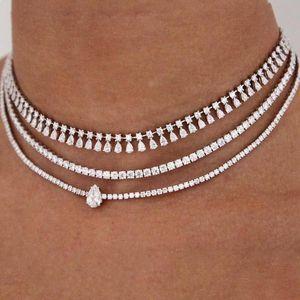 GLAMing Нового Кристалл Choker ожерелье циркона для женщин Gold Chain фасонного посеребренной теннис цепи ожерелья Воротник Bling Водного