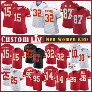 15 Patrick Mahomes Custom Dos Homens Mulheres Kids Football Jersey 87 Travis Kelce 10 Tyreek Hill 95 Chris Jones 25 Edwards-Helaire 26 Bell 14 Watkins