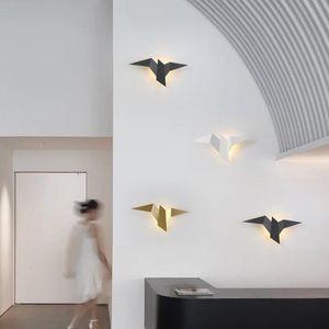 Lâmpadas Wall Wall Modern Led Lamp Nordic Iron Bird para sala de estar Quarto Home Decor Escadas luz de cabeceira luminárias